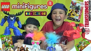 Boys will be Boys! Opening 8 Lego & Transformers Minifigures Blind Bags + 2 Elektrokidz! Dance Party