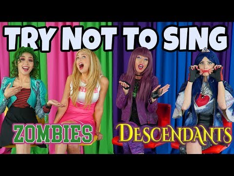 ZOMBIES VS DESCENDANTS. TRY NOT TO SING DISNEY SONGS CHALLENGE. (Totally TV Dress Up Characters)