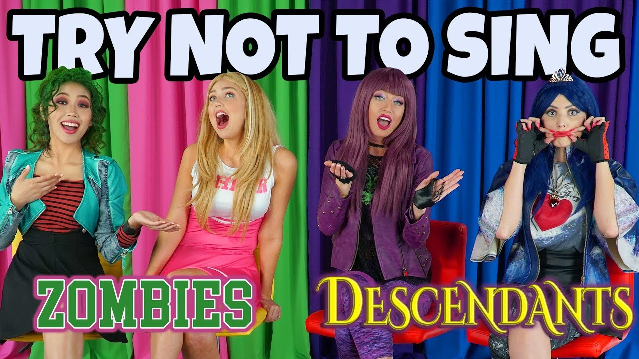 Zombies Vs Descendants Try Not To Sing Along Disney Songs Challenge