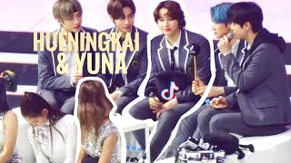 how hueningkai and yuna reacts around one another