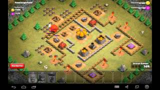 Thoroughfare - Town Hall Level 4 - 26 Barbarians, 49 Archers, 1 Balloon - Simple Clash of Clans
