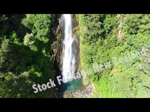 Stock Footage NZ. Thunder Creek Falls, Haast Pass drone 2