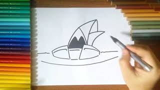 How to draw Sydney Opera House step by step for Kids