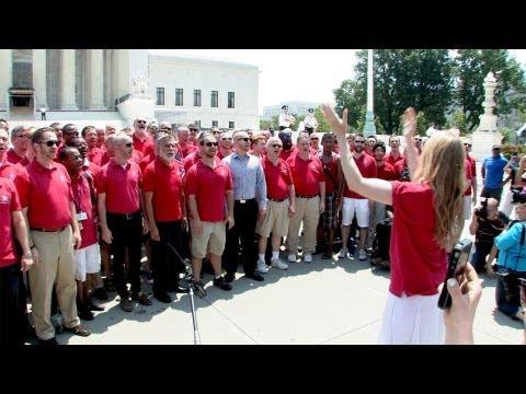 "Gay Men's Chorus of Washington Sings ""Make Them Hear You"" at the Supreme Court"