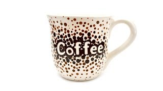 How to Paint Pottery:  Ombre Dots Coffee Mug