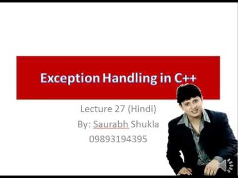 Lecture 27 Exception Handling in C++ Hindi