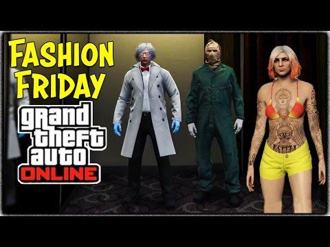 GTA 5 Online - FASHION FRIDAY! (Asylum Murderer, Mad Scientist, Candy Cwhoren & More)