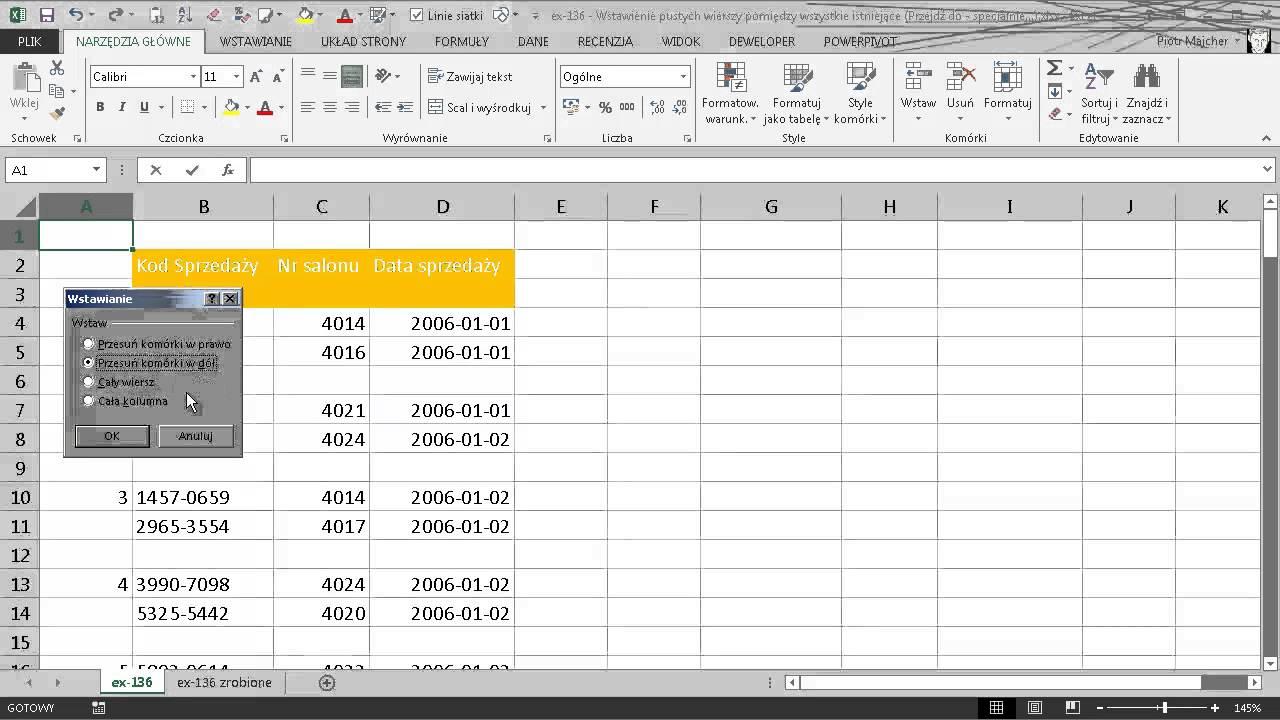 Excel 136 Wstawienie Pustych Wierszy Pomiędzy Wszystkie Istniejące Przejdź Do Specjalnie