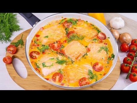 Lachs in Sahnesoße mit Spinat und Tomaten - Lachspfanne