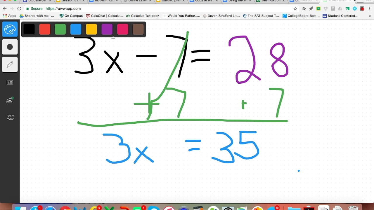 Solving Equations with Online Whiteboard