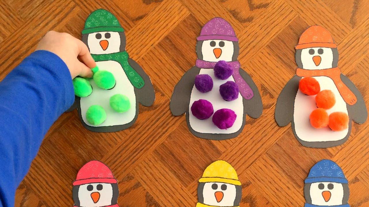 Penguin pom pom match for fine motor skills and colors for List of fine motor skills for preschoolers