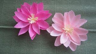 Как сделать цветок лотоса из гофрированной бумаги