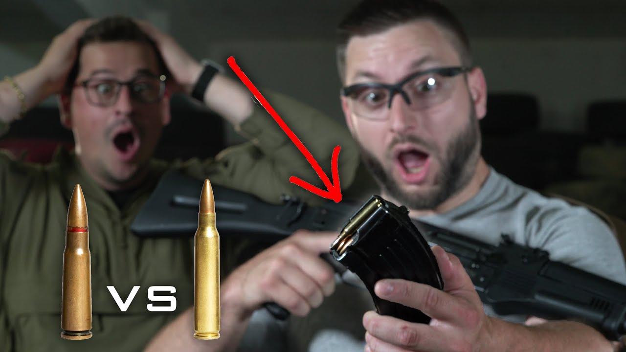 Can you fire a 5.56 round through a 7.62 AK?
