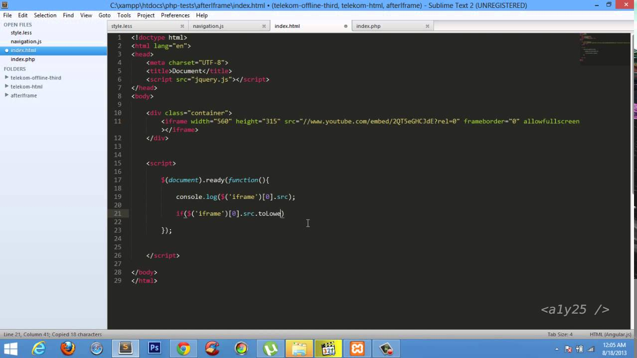 jQuery Checking iframe Source and matching Condition eg youtube iframe 720p