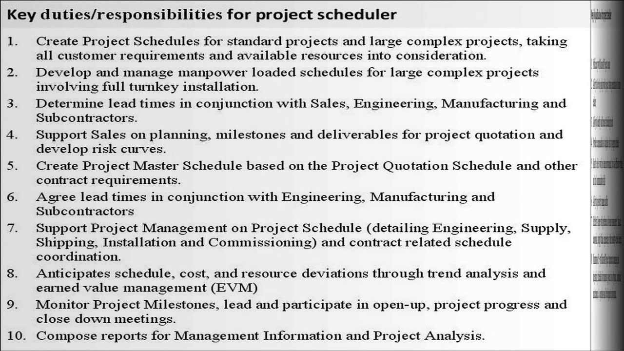 Project Scheduler Job Description Youtube