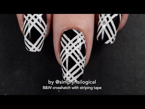 Black and White Crosshatch Nail Art Tutorial