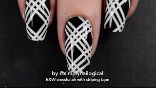 Black and white crosshatch nail art tutorial with striping tape
