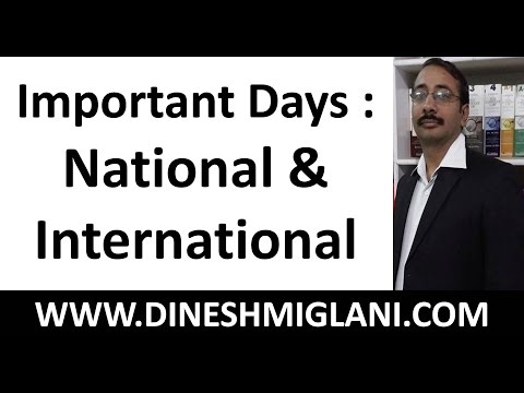 Important Days : National and International by Dinesh Miglani Sir
