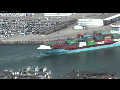 Axis Q6035e monitoring cargo ship movements