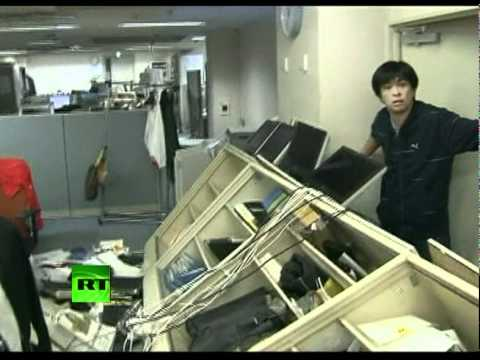 Dramatic footage of TV room violently shaken by 7.4 quake in Japan