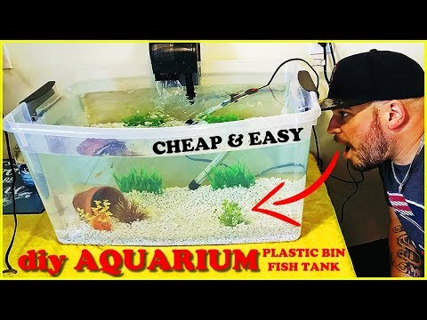 HOMEMADE AQUARIUM! DIY PLASTIC BIN FISH TANK SETUP