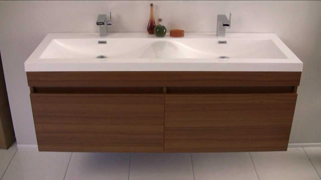 Bathroom Vanity with Wave Shaped Sinks  FVN8040TK  YouTube