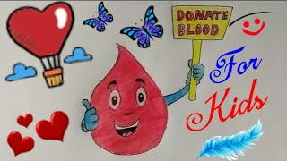How To Draw BLOOD DONATE Coloring Drawing Step By Step easy || BLOOD DONATION POSTER ||