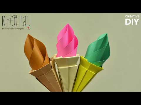 How To Make Ice Cream Cones Paper - Origami Ice Cream Cone Tutorial | Creative DIY