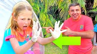 Nastya ve Stacy eğlenceli bir açık hava yarışması düzenlemek