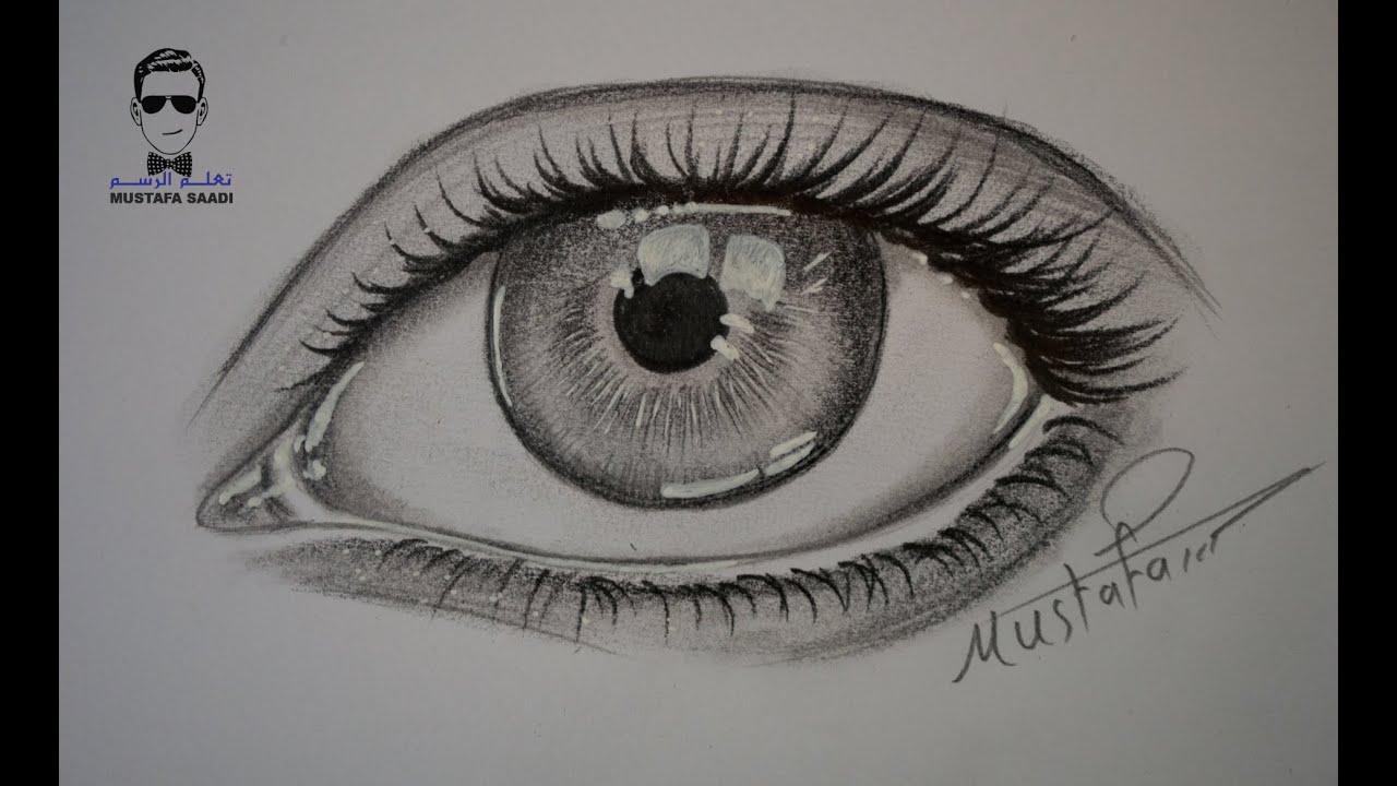 طريقة رسم الاضاءة في العين بقلم الحبر الابيض Youtube