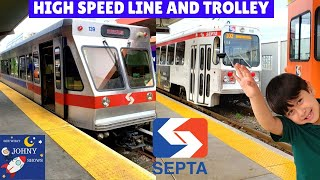 Johny's Train Ride On SEPTA High Speed Line And SEPTA Trolley Ride
