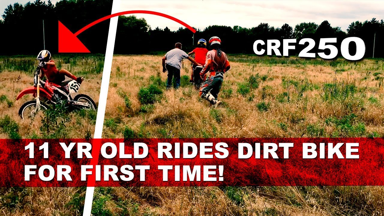11 Year Old Rides Dirt Bike For First Time! - Motovlog - YouTube