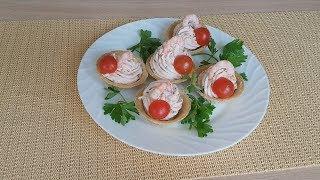 Закуска с творожным сыром и крабовым мясом в тарталетки