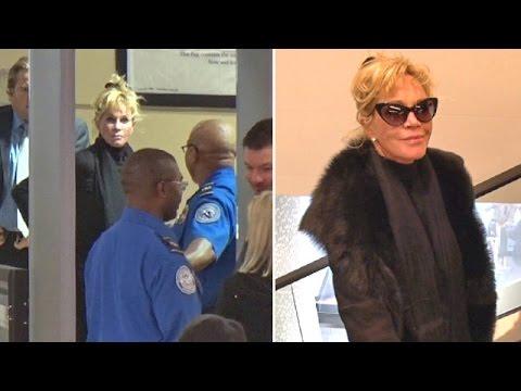 Melanie Griffith Slows Down TSA Line At LAX