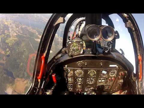 Fouga Magister CM-170 jet flight - helmet camera view