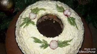 """Салат """" Новогодний венок"""" - очень красивый салат на праздничный стол"""