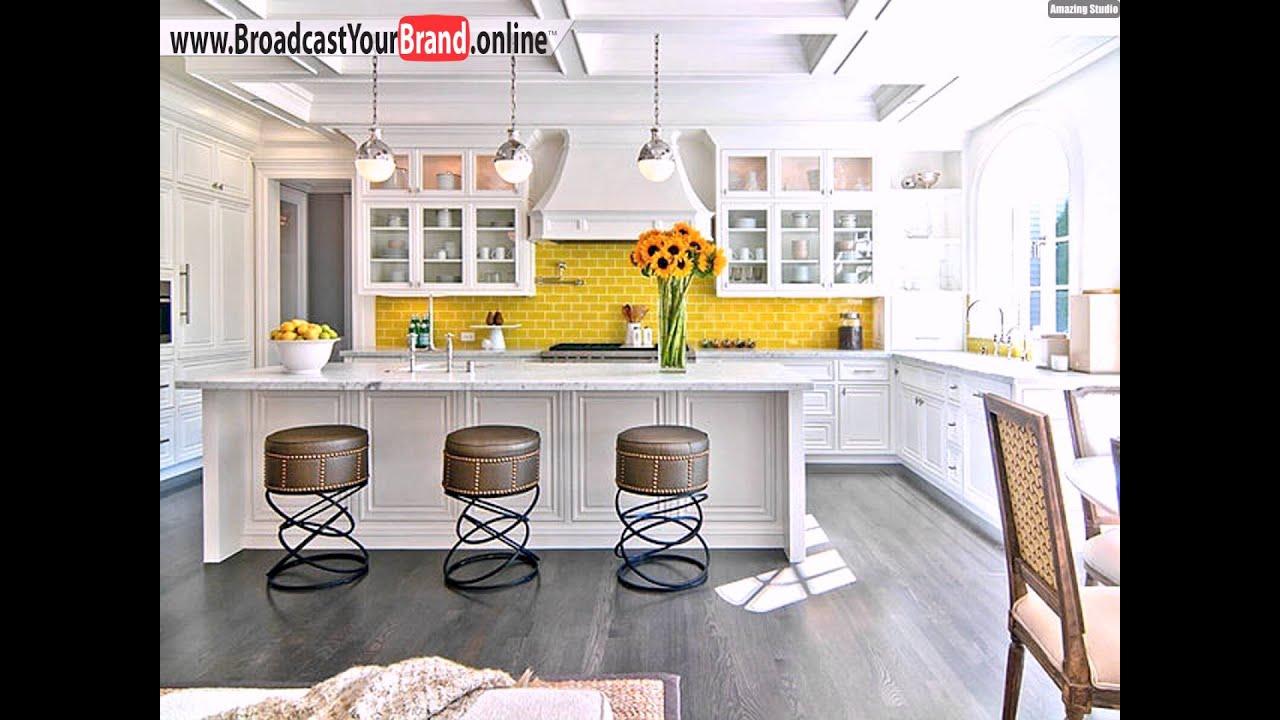 Wohnideen Küche Eklektisch Weiß Barhocker Gelber ...