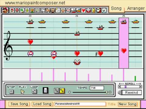 Radiohead - Paranoid Android on Mario Paint Composer w/lyrics
