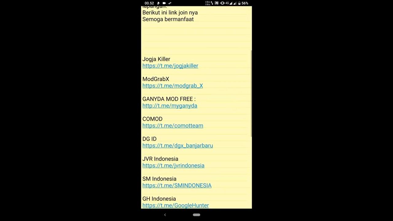Tempat Sharing Driver Ojol dan Koleksi mod Gojek dan grab gratis via  telegram Terbaru