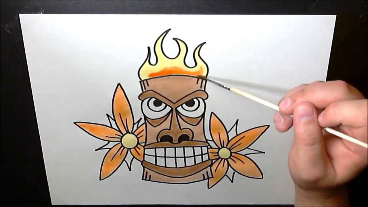 hawaiian tiki mask speed painting art timelapse hawaiian designs