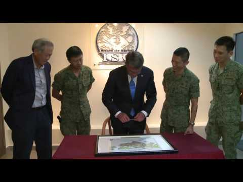 Defence Minister Dr Ng Eng Hen and Secretary Carter at the Imagery Support Group