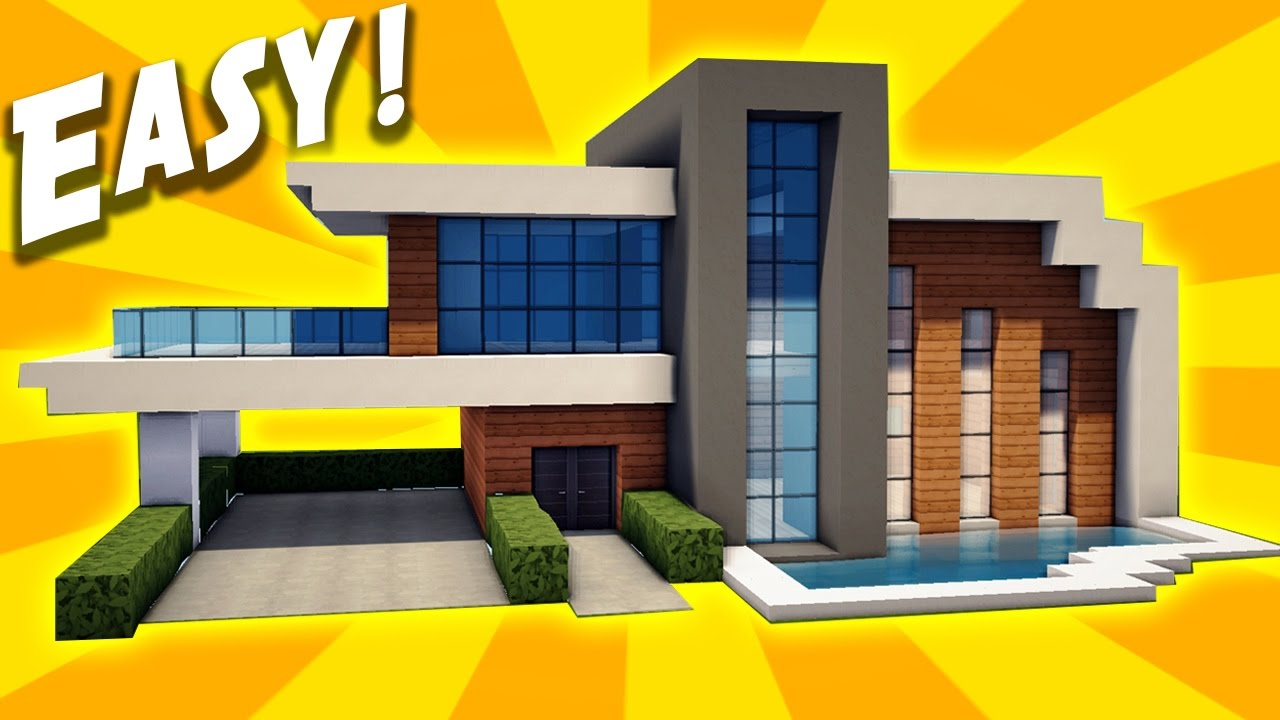 Minecraft easy modern house tutorial how to build a for How to build a modern home