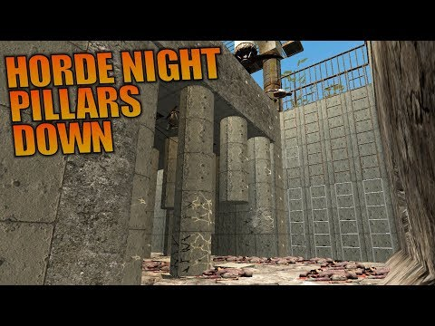 HORDE NIGHT PILLARS DOWN - 7 Days to Die - Let's Play Gameplay Alpha 16 - S16.4E32 - 동영상
