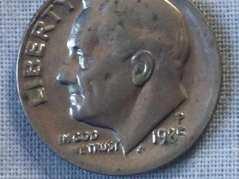USA COINS - ONE DIME 1985P OFFSET ERROR