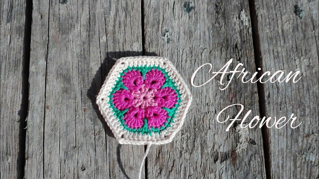 African Flower Crochet Afrikanische Blume Häkeln Youtube