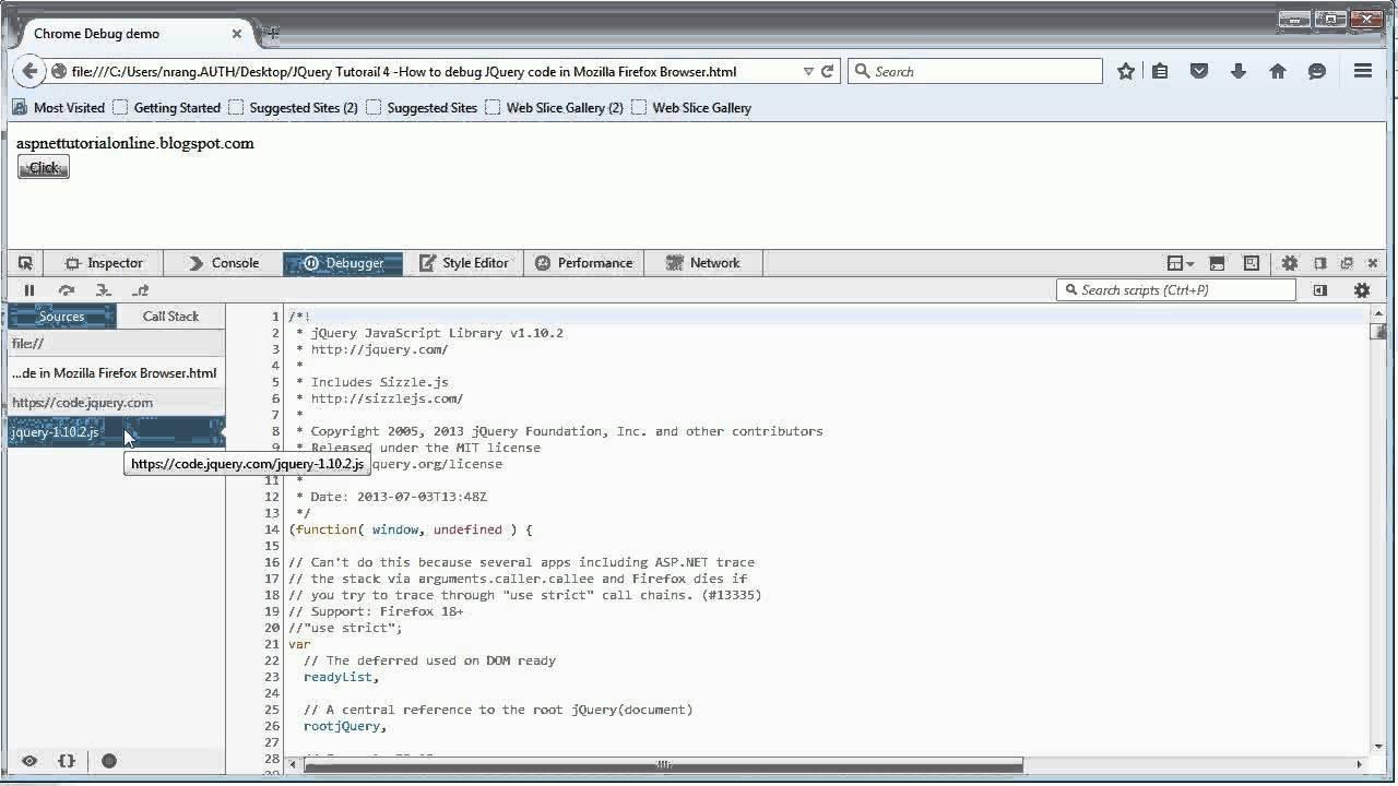 JQuery Tutorial 4 - How to debug JQuery code in Mozilla Firefox Browser