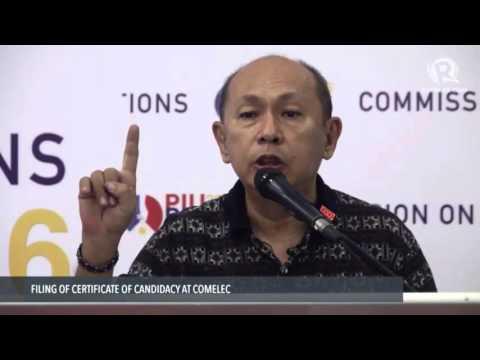Marin files his CoC for senator