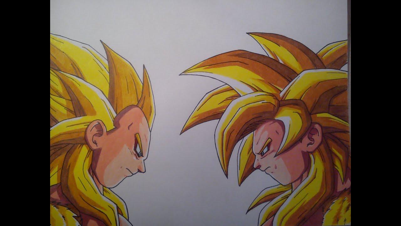 Como Dibujar A Goku Y Vegeta Ssj4 Dios Dorado How To Draw A Goku And Vegetta Ssj4 God Gold