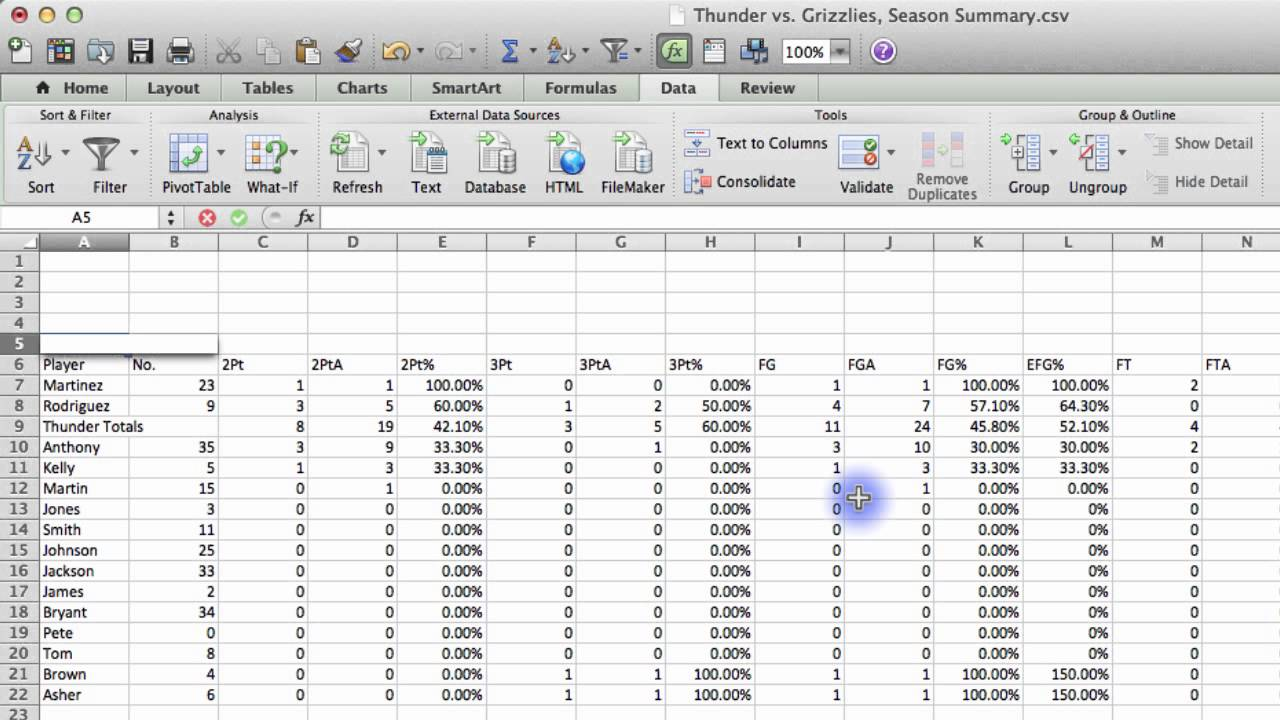 Breakthrough Stats - Video Tutorial 5 - Exporting to Excel and Sorting Stats