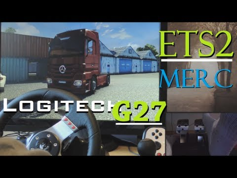 Euro Truck Simulator 2 trip - Logitech G27 gameplay, Mercedes, fully manual with clutch 900°. 1080p: Leave a COMMENT and I will SUBSCRIBE to you! FACEBOOK: http://www.facebook.com/pages/BroBurga/462556413791752?ref=stream Hello guys! This is a small trip in ETS2, trying out the Mercedes Benz Actros (Majestic)! It's a great truck that's smooth to drive... Sorry for the distracting wet palms I had rofl (it's not because of the bright lightening... it was just that day and I made a lot of videos on the same day).  How to set up ETS2: http://www.youtube.com/watch?v=OOh6MEBy-ko  Euro Truck Simulator 2 |FREE XP, MONEY, UNLOCKS, 200km/h mod|SAVE, NO CHEAT ENGINE NEEDED With this simple save you are able to unlock a big area of the map, get a huge ammount of money (billionare!), get all skill points and level up to 75! Also the 200 km/h speed limit mod is included: Download Here: http://www.4shared.com/rar/T1GgHE03/EUS2_CHEAT_right_click_and_ext.html DON'T CLICK ON AD WHERE IT SAYS DOWNLOAD!!!  Do you want to be able to shift to 18 gears on your H shifter? http://forum.scssoft.com/viewtopic.php?f=34&t=4291  SETUP: Steering/Racing wheel: Logitech G27 (including H-shifter and pedals w/ clutch) Camera: Nikon P510 Screen: 25,5